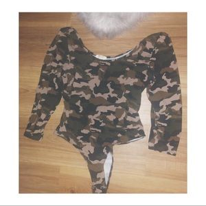 Army girl off shoulder body suit